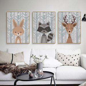 Şık Şiir Sevimli Karikatür Hayvan Portre A4 Tuval Boyama Sanatı Baskı Poster Resmi Duvar Çocuk Odası Ev Dekorasyon