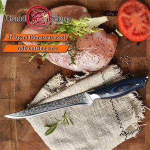 5.9 '' di Damasco Coltello da cucina per disossare Coltello giapponese Damasco VG10 coltelli da cucina per affettare Sfilettare Butcher Strumenti di cucina GRANDSHARP