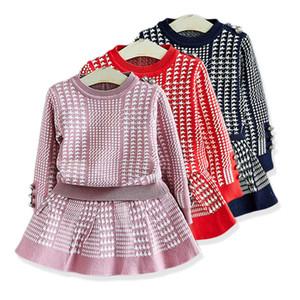 Girl Sweater 2020 Unlined Knitting Upper Garment Skirt Suit Trendy Western Style Children Dress Children's Clothing Twinset