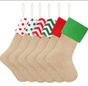 스트라이프 크리스마스 선물 양말 (9 개) 스타일 (12) * 18 인치 캔버스 선물 가방 크리스마스 스타킹 삼 장식 양말 OOA8298