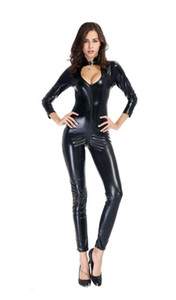 Hot 2-Wege-RV Sexy Frauen-Leder-Bodysuit PVC Catsuit Erotic Wet Look Sexy Verein-Overall-Tanz-Abnutzungs-Erotic Latex Catsuit