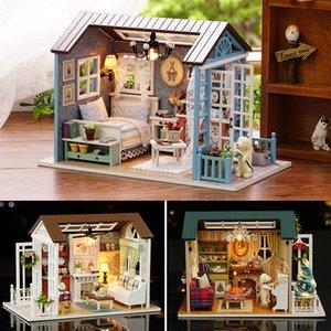 Кукольный дом Миниатюрные DIY Модель Dollhouse С Furnitures американских ретро Стиль Деревянные дома ручной работы игрушки лес Времена Z007 #E CX200818