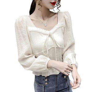 20200829 Autunno nuovo stile di pizzo scollo quadrato dolce fine bolla manica lunga corta delle donne della camicia manicotto francese