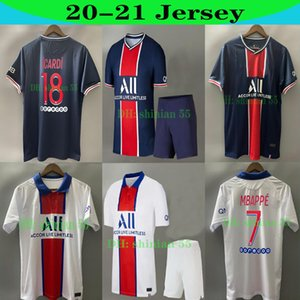 2020 TOP 파리 MBAPPE ICARDI 네이 마르 셔츠 JR 파리 (20 개) (21) 축구 유니폼 디 마리아 남자 아이 키트 세트 유니폼