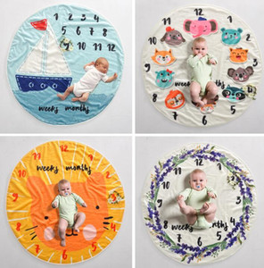Baby Milestone Blanket infant photography background blankets Photographic props Letters flower Animals Photographic fleece blanket GGA3635-