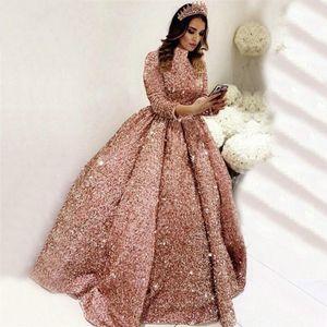 Off плеча Длина платья Quinceanera бальное платье блесток выпускного платья Ruffled пола Принцесса Bling Свадьбы Свадебные платья