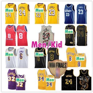 Los LeBron James 23 Jersey 6 Angeles Tutti Earvin 32 Johnson Star Black Mamba Shaquille ONeal 34 Uomini gioventù capretto 8 Basketball Maglie