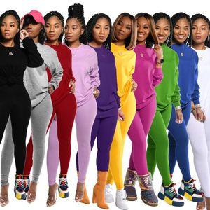 2020 Automne Femmes Survêtement Hot Style de modèle solide couleur manches longues Tops Set PANTALONS européen et américain 2 pièces