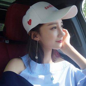 Летняя защита от солнца Корейского стиля модные вскользь все-матч вышитой любви шнуровке Солнцезащитной бейсболки пара бейсболки женской шляпе Nn