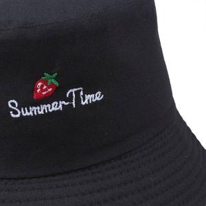 Casual Cute Sun Hat Letter Strawberry Embroidery Bucket Hat Men Women Hip Hop Caps Summer Fold Beach