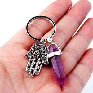 سلاسل أزياء الحجر الطبيعي قلادة سلسلة المفاتيح كوارتز الطبيعية حجر عين الشر فاطمة الوردي كريستال مفتاح ملحقاتها مجوهرات هدية