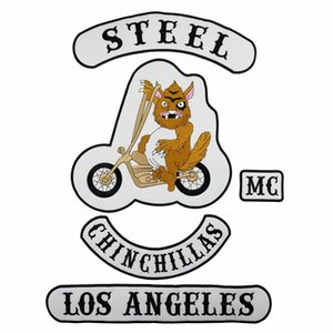 أروع STEEL CHINCHIL LAS بارد للدراجات النارية الكبيرة العودة PATCH ROCKER CLUB VEST OUTLAW BIKER MC PATCH FREE SHIPPING v6qa #
