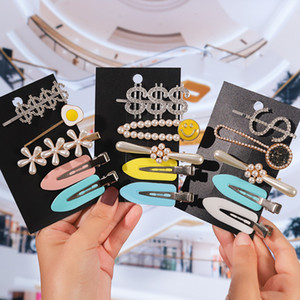 5 Pieces Fashion Hairpin Crystal Shiny Rhinestone Word Letter Hairpin Pearl Set Ms. Styling Tool Hair Accessorie