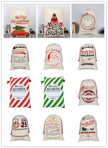 Santa Sacks Christmas Canvas Bags 19.7*27.5 inch Goody Gift Bags for Christmas Present Canvas Stocking with Drawstrings A11