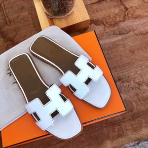 Hermes flip flop Top H Slippers Marca Mode Frauen 2020 New lussuoso Progettista Leder-Rindleder flachen Flip-Flop-Sandalen-Strand-Schuhe mit Staubbeutel