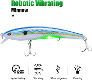 """AILHM Robotic Fishing Lures, Electric USB Rechargeable LED Light 5"""" Minnow, Bionic Vibrating Crankbait for Day and Night Fishing, Saltwater"""