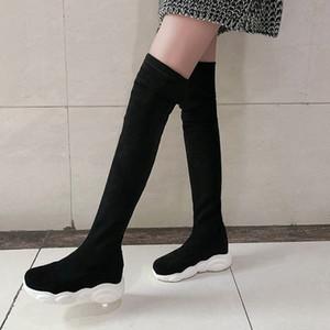 Large Size 48 Scarpe Sneakers Stivali Overknee donne coreane di sport delle donne lunghe a metà coscia Stretch superiore piatto stivali lunghi