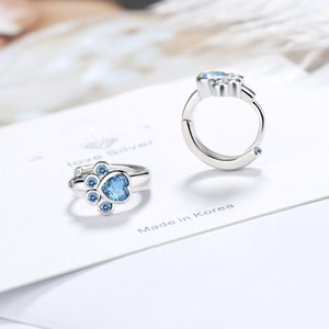 Sweet Blue Short Cat Claw Footprint Hoop Earrings For Women Girl Wedding Jewelry Gift Pendientes