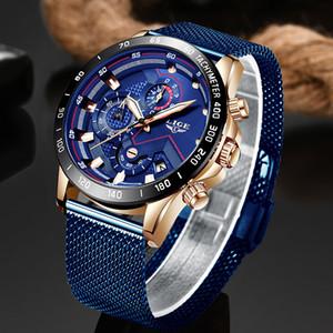 LIGE moda para hombre relojes de alta calidad del reloj del reloj de cuarzo azul Reloj impermeable de los hombres del cronógrafo del deporte Relogio Masculino