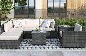 U_Style 8 шт Ротанг Секционные мебли с подушках Патио Мебель наборы Открытый Плетеная Секционные WY000067EAA