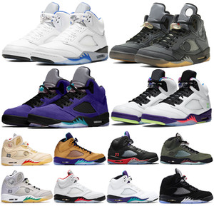 Mens 5 5s Suede Shoes Basketball Sneaker cimento branco Michigan Sneakers chaussures Designer treinador Sneakers homens tamanho 7-13