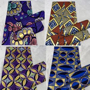 Yeni Afrika altın Wax Kumaş pamuk malzeme Yüksek Kaliteli Ankara Wax için dikiş 6yards Kadınlar elbise Kumaş Baskı