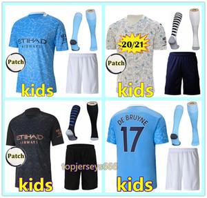 20 21 Manchester City kids kit Fußballtrikot 2020 2021 Kind KUN AGUERO STERLING DE BRUYNE KOMPANY MAHREZ SANE city Kinderfußball-Trikot soccer jersey kids