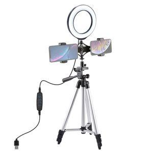 Tripod Mount + Live Broadcast Dual Phone Bracket + 6.2 inch 16cm LED Ring Vlogging Video Light Kits