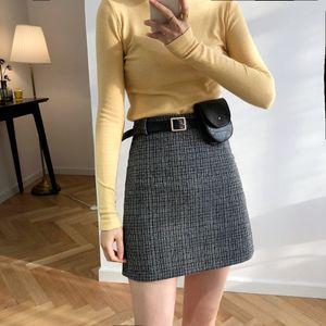 Luxi style Hong Kong jupe taille haute plaid automne enfants et gaine hiver laine de laine gainée ligne Wool- jupe de laine avec sac 6920 o