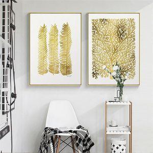 Nordic Lucky Yellow Leaf fortuna árbol de la lona de pintura Inicio de la sala Resumen Colgando Impresiones Imagen impresión escandinava Decoración