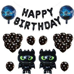 33pcs set How to Train Your Balloons Black Dragon Toothl Ceremony Birthday Party Baby Boy Theme Hero Dragon Decorative Toys