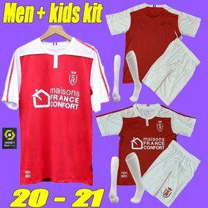 2021 Stade Reims Football Maillots de Disasi de Cafaro KONAN DIA Foket CHAVALERIN Zeneli 20 21 Adultes kits enfants Reims Maillots de pied de de