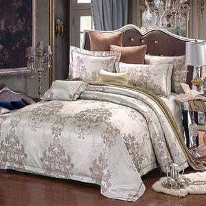 Bedding Sets Luxury Jacquard Color Silk Cotton Satin Set Classic Bed Duvet Cover Sheet Pillow Case Queen King 4 Pcs