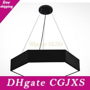 Hexagon Led Pendant Lampes Suspension de plafond Noir Blanc For Living Restaurant Room Éclairage Ac 85 -265 Volts