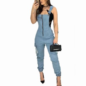 STYLISH LADY 2020 Autumn Women Denim Blue Jeans Bib Full Length Denim Overall Solid Loose Zipper Street Causal Jumpsuit Pants