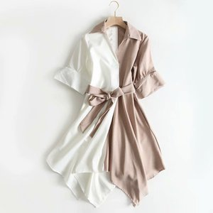 Women's Dress Summer Autumn Top Quality Casual Style Irregularly Striped Lapel Lacing Fashion Skirt 2 Style Available Size: S-L