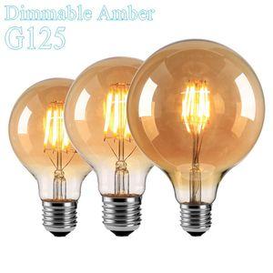 Dimmable Amber G125 8 Watts 12 Watts Led Antique E27 E26 Vintage Retro Lamp 110V 220V Filament Bulbs Lamp Glass Ball Bombillas