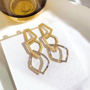 Fashion Irregular Geometric Drop Earring for Women Exaggerate Golden Rhinestone Dangle Earrings Wedding Jewelry Gifts