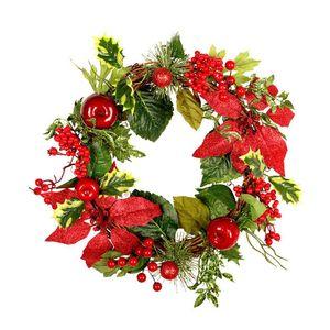45 centimetri Corona Porta Natale Hanging mano Rattan Pendente Ghirlanda Ornament Xmas Tree Decor artificiale Flowe Corona