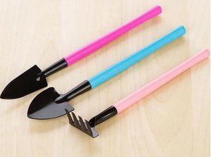 3pcs  Set Mini Shovel Spade Rake Metal Head Garden Gardening Plant Tools Set With Colorful Wooden Handle