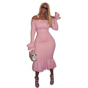 슬림 LS6020 단색 슬링 한 줄 칼라 트럼펫 슬링 드레스 소매 슬림 드레스 슬리브 트럼펫 UFSZO LS6020 단색 한 줄 칼라