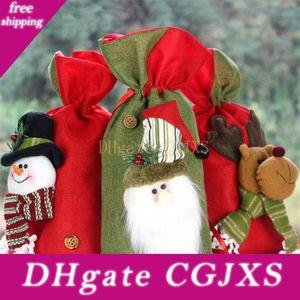 Navidad de Santa saco del regalo del caramelo de la galleta bolsas de Santa muñeco de nieve Elk media con la cuerda del lazo de la celebración de días de Navidad decoración de la boda Jk1910