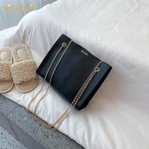 Женщины Lattice Pattern сумка PU кожа леди Сплошной цвет Простые сумки плеча Мода Изысканный хозяйственная сумка