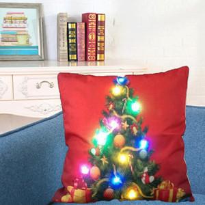Funda de almohada cubierta lumínica LED de lino fundas de almohada del amortiguador de luz Navidad de la cubierta de almohada Inicio Sofá de coches Decoración OOA8378