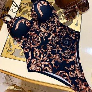 En-X Paisley imprimer une pièce femelle Poussez bodysuit combinaisons d'une seule pièce femmes maillots de bain de coupe vintage haut de maillot de bain Baigneuses