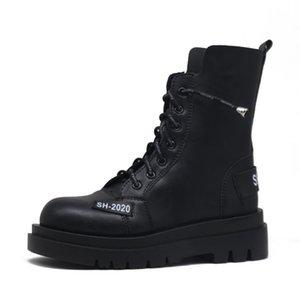 Женская мода все-матч Knight Boots Марка Fall Winter Warm Коротких ботильоны Женщина Плоских пятки платформа Черного