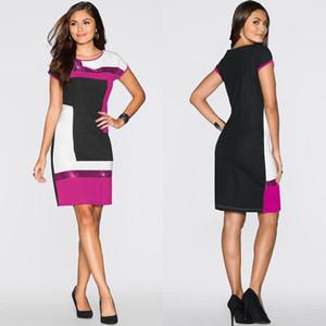 dress المرأة الرقبة الطاقم الترتر المرقعة التنورة فساتين سليم فاخر مصمم تصميم النساء فساتين الصيف للمرأة
