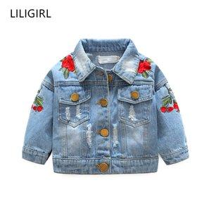 LILIGIRL Kids Vintage Топы Одежда для малышей девушки джинсовой куртки ветровки 2019 Детские Rose Flower Вышивки Жакеты Ветровка Y200831