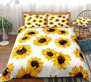 Yellow Pattern Girassóis edredon cobrir Set Flores Impresso fundamento branco Crianças Meninos Meninas Floral Quilt cover do Queen Dropship RR6l #