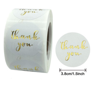 500 Labels White Thank You Stickers Round Foil Handmade Decorative Sealing Labels for Wedding Birthday Business Card Stationery